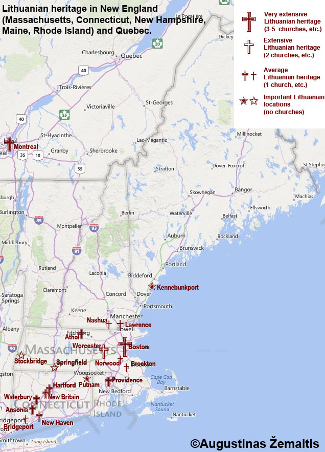 Map of Lithuanian heritage in New England | Global True Lithuania