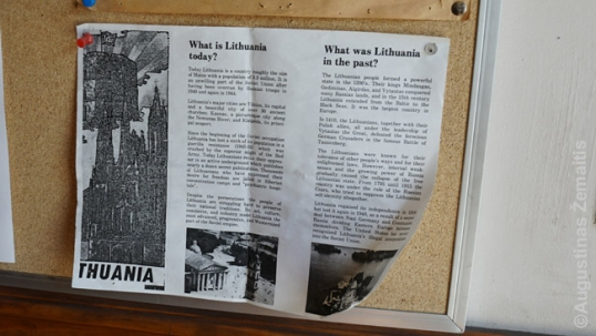 A clipping at Tauras club entrance describing Lithuania
