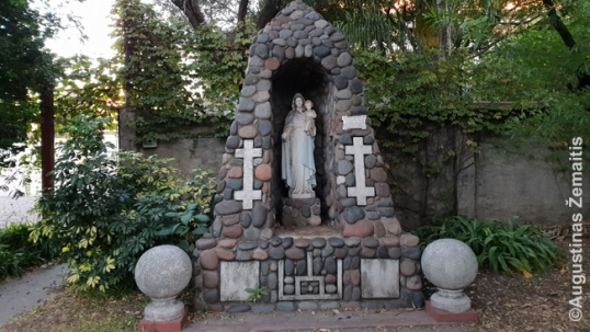 Virgin Mary monument  in the Our Lady of Vilnius church yard of Buenos Aires
