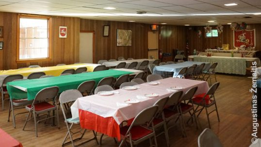 The tricolor interior of the Lithuanian Outing Association of Gardner