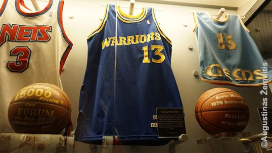 Jersey of Šarūnas Marčiulionis at the Naismith Basketball Hall of Fame