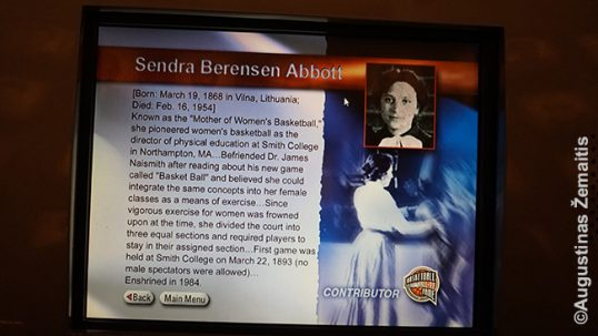 Description of Senda Abbot at the Naismith Basketball Hall of Fame