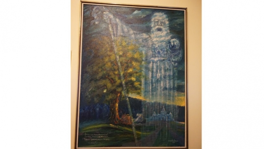One of the patriotic Lithuanian artworks inside the club. This artwork depicts a Lithuanian pagan god Praamžius. Painted in 1979 (by V. Vaitiekūnas), while Lithuania was still under a deep Soviet occupation and the liberation of Lithuania was the topic that unified all Lithuanian-American communities and clubs. The text on the painting means: 'I call the mighty Praamžius! I call, arise, oh heroes,.. I see a Fatherland that is becoming free'