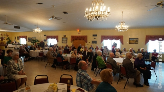 The main hall of St. Petersburg Lithuanian club during a community meeting
