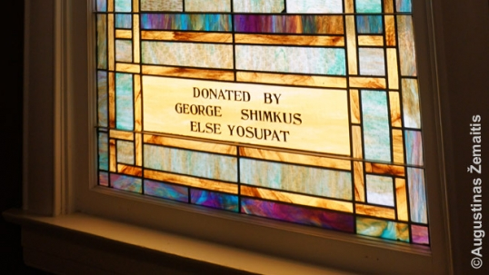 Stained-glass windows inscriptions with Lithuanian names at the Collinsville church