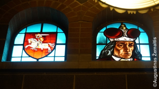 Stained glass windows of Vytautas the great (right) and the Lithuanian Coat of arms (left) by V. K. Jonynas