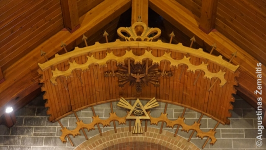 Lithuanian ethnic woodcarving inside the East St. Louis church