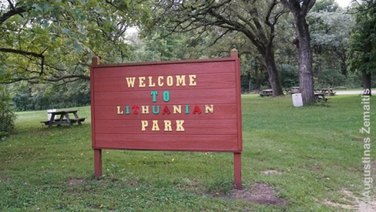 Rockford Lithuanian park (this sign is more than one mile after driving past the gate)