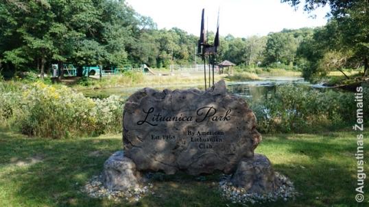 Lituanica park memorial stone