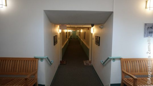 The corridor on the second floor built in the church nave