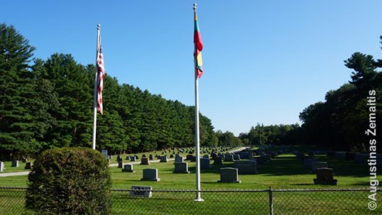 Holy Cross Lithuanian cemetery with the Lithuanian and American flags