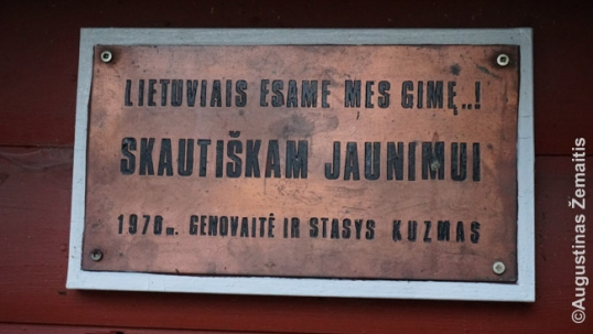 Dedication on the gate says 'Lithuanians we are born' (a text from the famous song) and 'For the scouting youth'