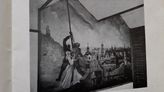 Raising Lithuanian flag at the Gediminas Hill (by S. Šetkus; mural no longer available)