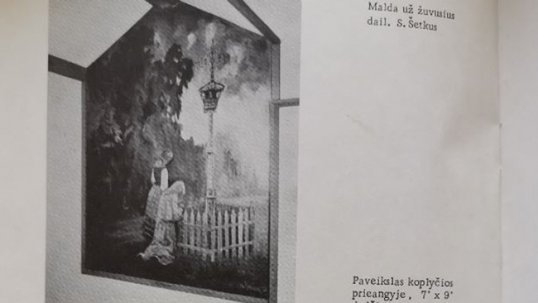 Lithuanian wayside shrine (by S. Šetkus. Mural no longer available)