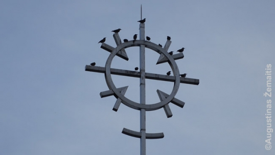 Traditional Lithuanian sun-cross that crowns the Ressurection church