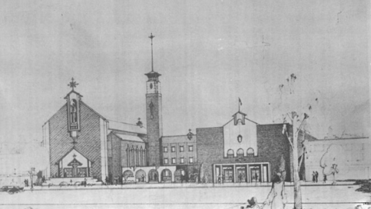 Original blueprint of the old Resurrection Lithuanian church. Actually, only the building on the right was constructed. The initial plan was for that building to serve as a church only temporarily (before the main church on the left is constructed) and then serve simply as a hall for secular activities afterward. In reality, however, the main church was never build until 2001, when a smaller church was constructed for a then-smaller community in western Toronto