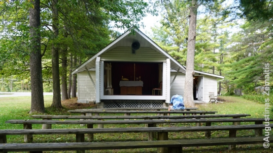Wasaga Beach Lithuanian church of Good Shepherd looking from its external pews