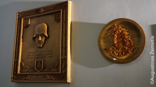 Memorial plaque for the Lithuanian soldiers and partisans (left) and an amber artwork (as amber is considered to be one of the national symbols of Lithuania)
