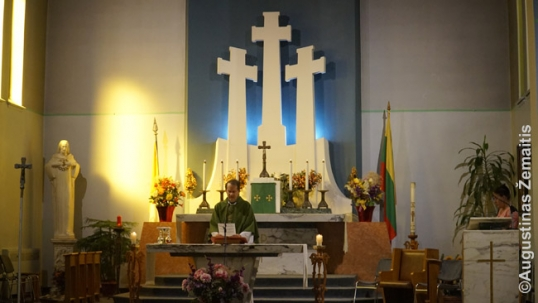 Three Crosses of Vilnius behind the altar of the Montreal Our Lady Gate of Dawn Lithuanian church