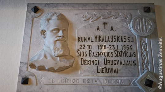 Priest Mikalauskas memorial plaque in the Lithuanian church of Uruguay