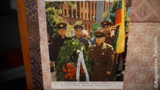 Lithuanian partisan re-enactors at the communism victims memorial