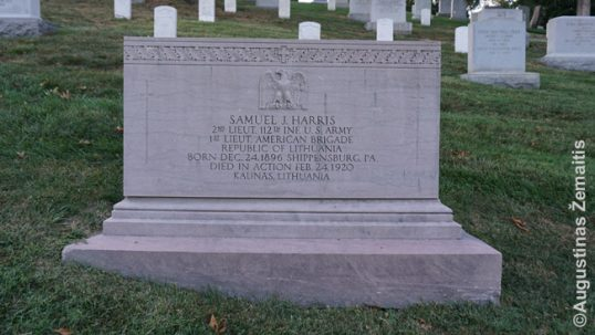 The American side of Harris's grave