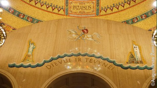An artwork in the Washington basilica of Immaculate Conception depicts the Lithuanian emigration (the Vytis of Lithuanian coat of arms is galloping accross the Ocean from Kaunas War Museum to New York's Liberty Statue).