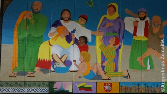 A fragment of a mural with Lithuanian syymbols in the cellar of the church (that serves for the community meetings and, as long as the school was open, served as school's cafeteria)