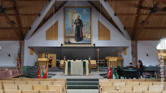 Marianapolis school chapel with a massive painting of Jurgis Matulaitis