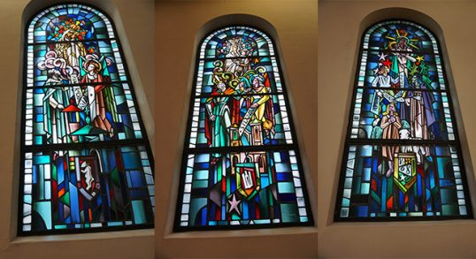 Lithuania-themed stained glass windows at the Putnam convent