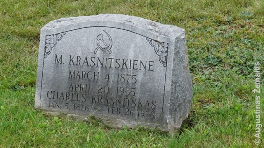 A grave with hammer and sickle in the Waterbury Lithuanian cemetery