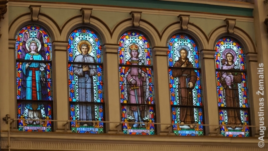 Stained glass windows at the Holy Cross Lithuanian church in Chicago (Back of the Yards)