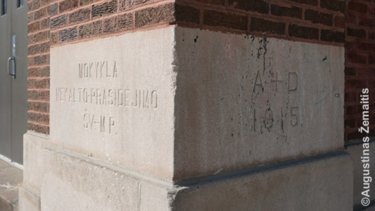 Brighton Park Lithuanian school cornerstone