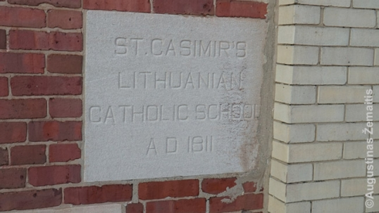 Chicago Heights Lithuanian church cornerstone