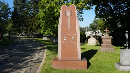 A Soviet-symbols-clad memorial in the Lithuanian National Cemetery of Chicago