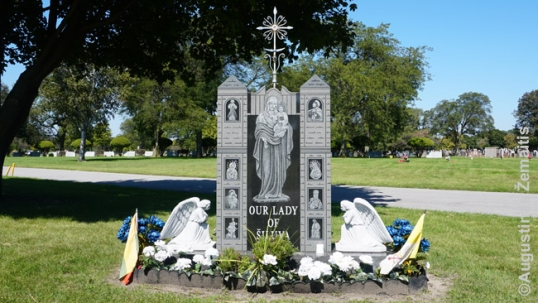 Our Lady of Šiluva monument in the St. Casimir Lithuanian cemetery of Chicago