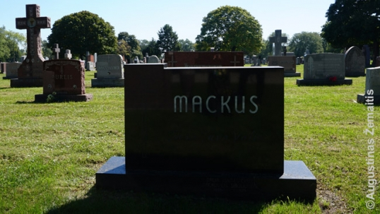 Poet Algimantas Mackus grave in the St. Casimir Lithuanian cemetery of Chicago