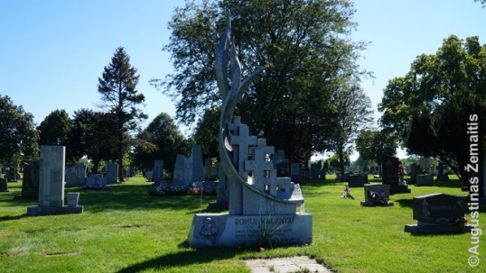 Romas Kalanta memorial at the St. Casimir Lithuanian cemetery of Chicago