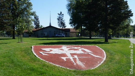 Lithuanian coat of arms land art at the St. Casimir Lithuanian cemetery of Chicago