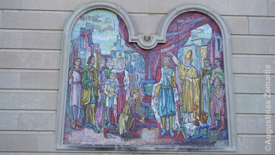 Corronation of Mindaugas mosaic at the Nativity BVM Lithuanian church