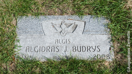 Algirdas Budrys grave in Chicago (inscribed with a mistake)