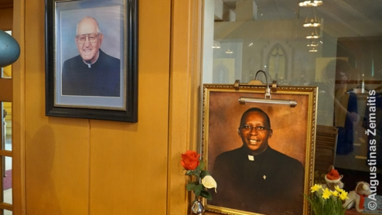 Two pastor images at the Ss. Peter and Paul Lithuanian church - the first one of them is Lithuanian, and the second one is African American (after the change in the parish demography)