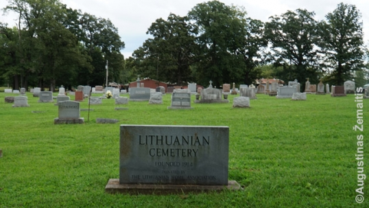 Commemorative stone of the West Frankfort Lithuanian cemetery
