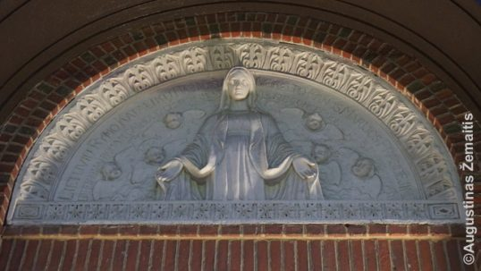Lithuanian hos-relief on the Cambridge church of Immaculate Conception