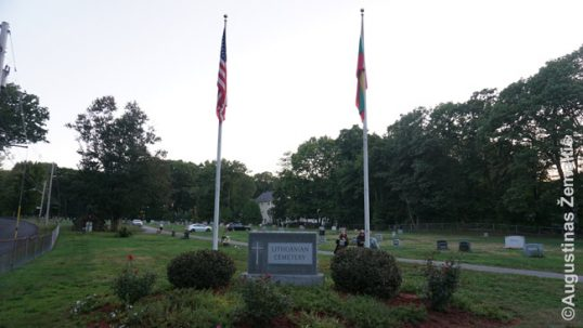 The flags over the Haverhill Lithuanian cemetery