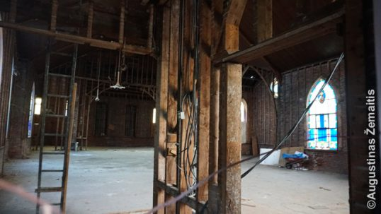The ravaged interior of the Haverhill Lithuanian church