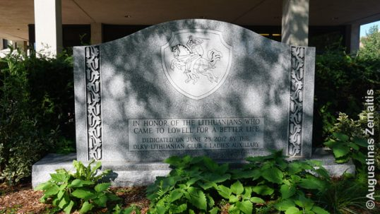 Memorial stone for Lithuanians near Lowell City Hall