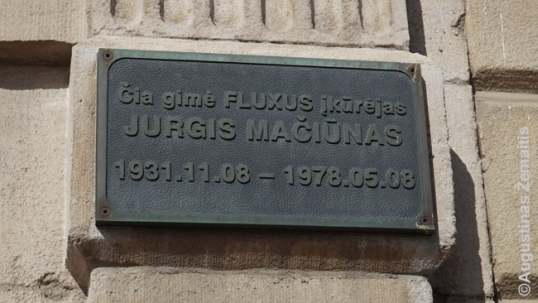 False Jurgis Mačiūnas memorial plaque
