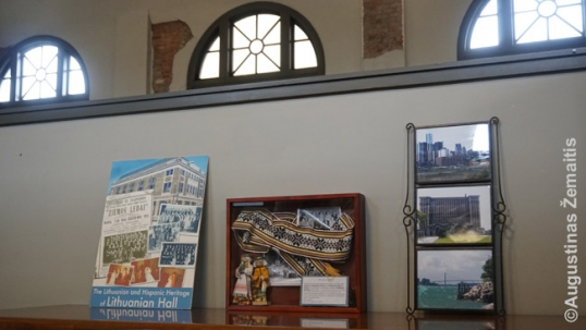 Main Hall now serves as an open office space. At one of the walls there is Lithuanian memorabilia