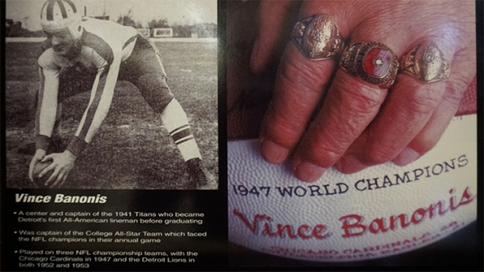 Part of Vince Banonis exhibit in the University of Detroit Mercy